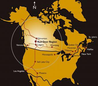 Map of North America showing the Red Deer Distribution Region